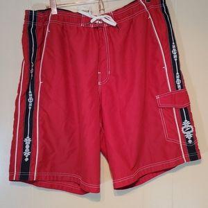 Speedo Red & Black Lined Swim Shorts